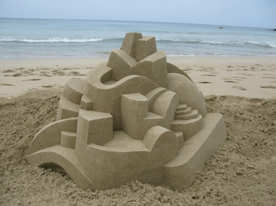 Thomas's first attempt at a sandcastle